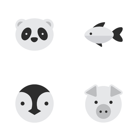 Illustration Set Of Simple Fauna Icons. Elements Bear, Piggy, Flightless Bird And Other Synonyms Fish, Flightless And Pig.