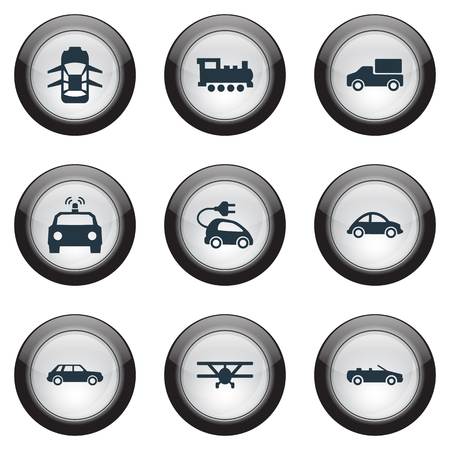 Illustration Set Of Simple Transportation Icons. Elements Automotive, Sedan, Steam Train And Other Synonyms Cop, Hatchback And Cabriolet.