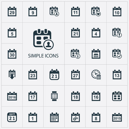 Illustration Set Of Simple Calendar Icons. Elements Remembrance, Conference, Eighteen And Other Synonyms Warning, Schedule And Thirtieth.