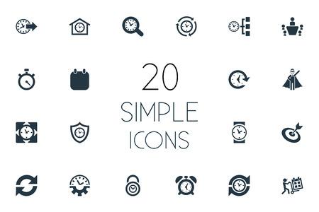 그림 간단한 시간 관리 아이콘의 집합입니다. 요소 기간, 자물쇠, 반복, 시계 및 기타 동의어 자물쇠, 회의 및 속도계. 스톡 콘텐츠 - 84946338