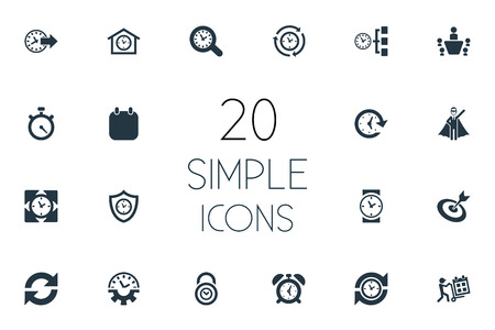 Illustration Set Of Simple time Administration Icons. Elements Term, Padlock, Repetition, clock  And Other Synonyms Padlock, Meeting And Speedometer. Zdjęcie Seryjne - 84946338