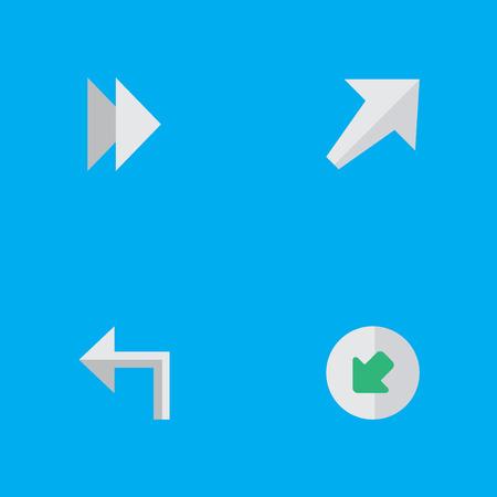 シンプルな矢印のアイコンのイラスト セット。要素の向き、北西、南西、他の北西、左は類義語、次へ。  イラスト・ベクター素材