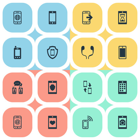 Illustration Set Of Simple  Icons. Elements Protection, Business Accessory, Smart phone , Phone And Other Synonyms Technology, Safeguard And Synchronization.
