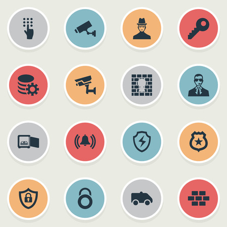 Illustration Set Of Simple Security Icons. Elements Defense,CCTV,  Password, Bodyguard And Other Synonyms Shield, Strongbox And Database.