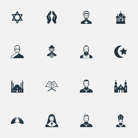 単純な宗教アイコンのイラスト セット。要素のデイヴィッドの星、チャペル、聖職者、他の同義語のデビッド スターし、牧師.