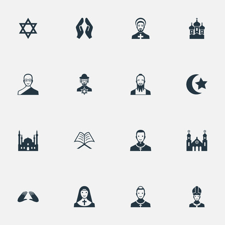Illustration Set Of Simple Religion Icons. Elements David Star, Chapel, Cleric And Other Synonyms David, Star And Pastor.
