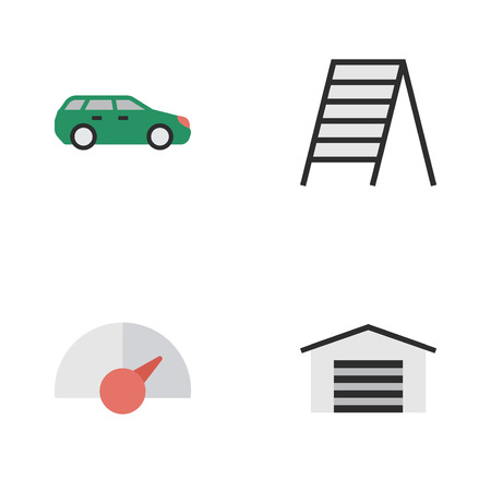 Ilustración vectorial Conjunto de iconos de transporte simple. Elementos escaleras, cobertizo, sedán y otros sinónimos Cobertizo, escalera y escaleras. Foto de archivo - 84942651