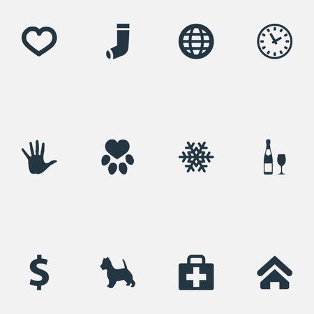 簡単な世帯のアイコンのイラスト セット。要素のフット プリント、手、アルコール類義語中心部、ペット、医学と時間。 写真素材 - 84946430