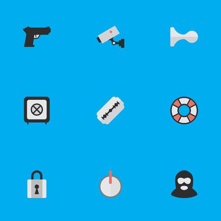 単純な犯罪アイコンのベクター イラスト セット。要素のブレードを閉じると、犯罪やその他の類義語のセキュリティ パスワードと救命浮環です。