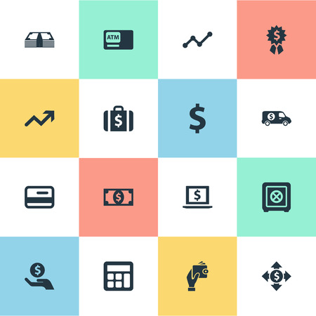 Vector Illustration Set Of Simple Bill Icons. Elements Bank Truck, Strongbox, Money And Other Synonyms Briefcase, credit card And Safe.