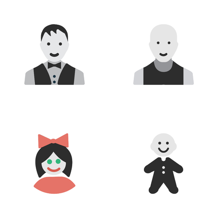 Vector Illustration Set Of Simple Avatar Icons. Elements Guy, Girl, Man And Other Synonyms Guy, Male And Man. Illustration