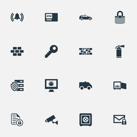 Vector Illustration Set Of Simple Safety Icons. Elements Extinguisher, Camion, Cop Automobile And Other Synonyms Wall, Protected And Locked.