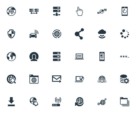 Vector Illustration Set Of Simple Web Icons. Elements Nucleus, Processing, Browser Tab And Other Synonyms Click, Password And Communication.