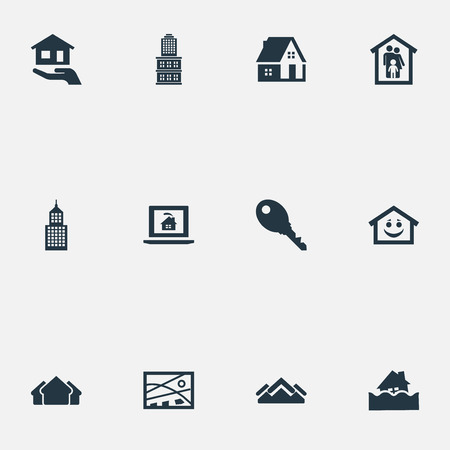Vector Illustration Set Of Simple Property Icons. Elements Affordable Investment, Location, Residential And Other Synonyms Lock, House And Database.