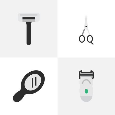 Vector Illustration Set Of Simple Barber Icons. Elements Scissors, Glass, Electronic And Other Synonyms Shaver, Scissors And Machine.
