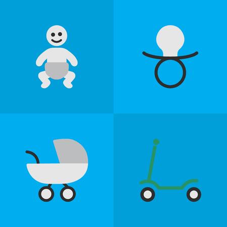 Vectorillustratiereeks Eenvoudige Kindpictogrammen. Elementen schoppen, wandelwagen, kind en andere synoniemen kick, bromfiets en wandelwagen.