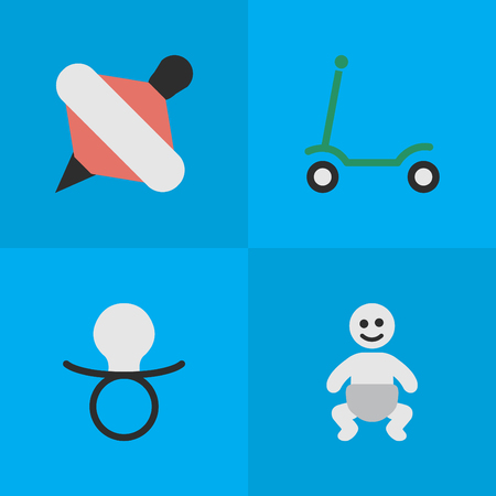 Vector Illustration Set Of Simple Infant Icons. Elements Kick, Yule, Nipple And Other Synonyms Nipple, Children And Scooter.
