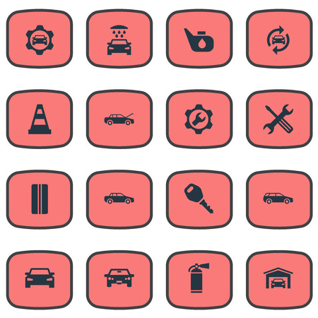 Vector Illustration Set Of Simple Automobile Icons. Elements Servicing, Workshop, Lock And Other Synonyms Building, Caution And Wheel.
