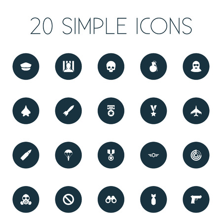 Vector Illustration Set Of Simple Battle Icons. Elements Hat, Award, Gun And Other Synonyms Poison, Respirator And War-Plane.