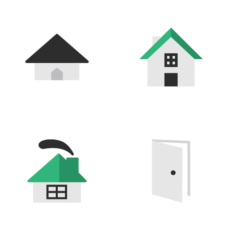 Vector Illustration Set Of Simple Estate Icons. Elements House with window and chimney and door