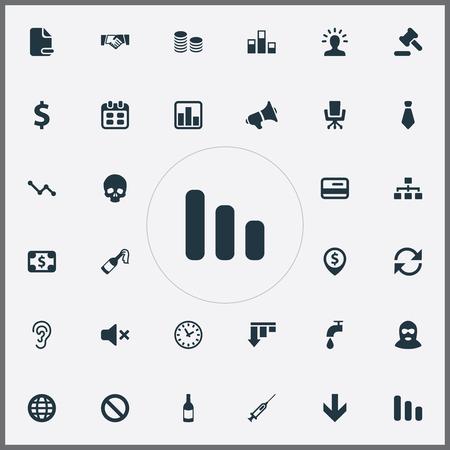 シンプルなアイコンのイラスト セット。要素ハンドシェイク、ハンマー、通貨、マイク、泥棒、グローブ、ネットワーク