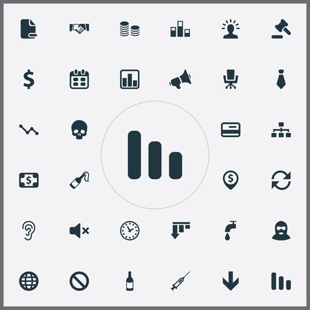 Illustration Set Of Simple Icons. Elements handshake , hammer, currency,  mic, thief, globe ,network