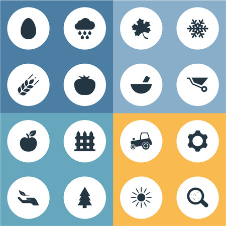 Vector Illustration Set Of Simple Agriculture Icons. Elements Jonagold, Leaf, Engine And Other Synonyms Farming, Protein And Barrier. Ilustrace