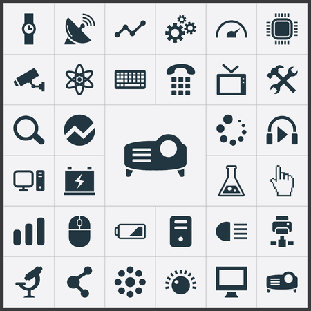Vector Illustration Set Of Simple Device Icons. Elements Share, Satellite Antenna, Processor And Other Synonyms Drug, Security And Wristwatch.