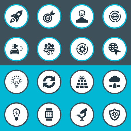 Vector Illustration Set Of Simple Creativity Icons. Elements Change, Server, Shield And Other Synonyms Scholar, Energy And Cloud. Illustration