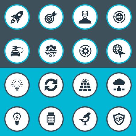 Vectorillustratiereeks Eenvoudige Creativiteitpictogrammen. Elementen veranderen, server, schild en andere synoniemen Scholar, energie en cloud. Stock Illustratie