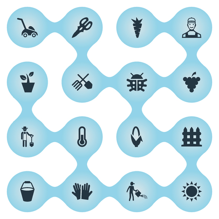 Vectorillustratiereeks Eenvoudige het Tuinieren Pictogrammen. Elementen tuinbouw Gauntlet, grassnijmachine, temperatuur en andere synoniemen Zomer, handschoenen en scheerbeurt.