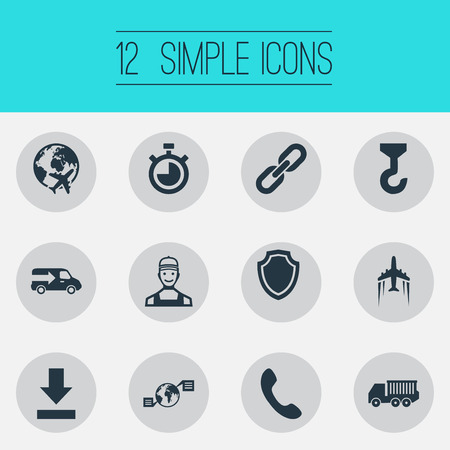 Vector Illustration Set Of Simple Logistics Icons. Elements Countdown, Conversation, Lorry And Other Synonyms Link, shield,  Chronimetr And Machine.