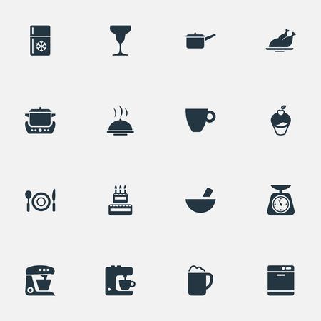 シンプルな料理のアイコンのベクトル イラスト セット。要素キッチン ツール、キャセロール、ミキサー、他類義語シチュー ポット、ケーキと祝い