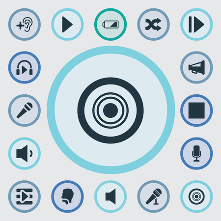 silent: Vector Illustration Set Of Simple Audio Icons. Elements Play, Loudspeaker, Multimedia Buttons And Other Synonyms Microphone, Communication And Low Battery.