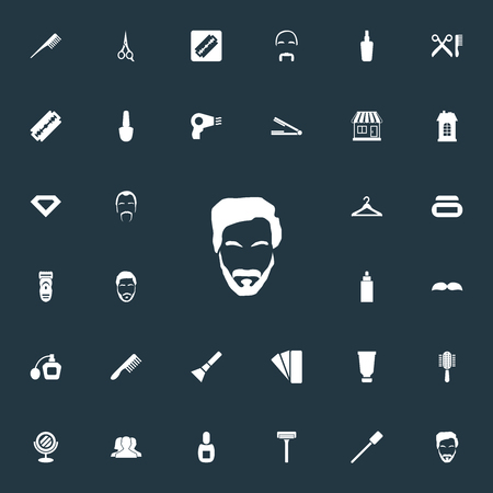 Vector Illustration Set Of Simple Barber Icons. Elements Supermarket, Cutting Machine, Straight Razor And Other Synonyms Hipster, Palette And Bottle.