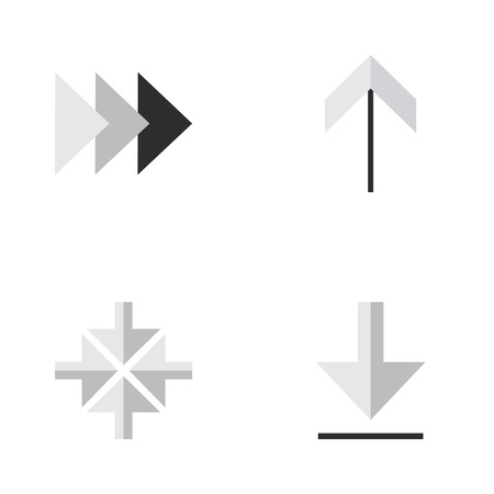Vector Illustration Set Of Simple Pointer Icons. Elements Onward, Loading, Up And Other Synonyms Arrow, Up And Forward.