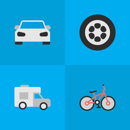 Vector Illustration Set Of Simple Transportation Icons. Elements Wheel, Van, Sport And Other Synonyms Sport, Wheel And Van. Ilustracja