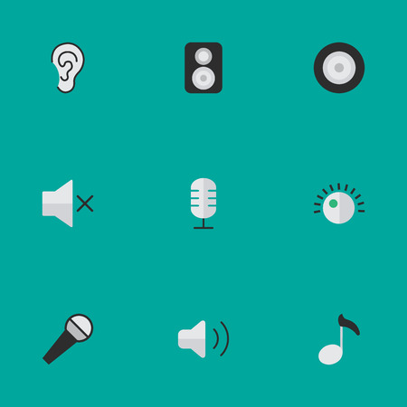 Vector Illustration Set Of Simple Melody Icons. Elements Microphone, Regulator, Volume And Other Synonyms Ear, Mute And Mike. Illustration