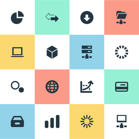Vector Illustration Set Of Simple Analysis Icons. Elements Download, Notebook, Double Arrow And Other Synonyms Server, Data And Coordinate. Illustration