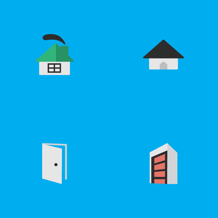Vector Illustration Set Of Simple Real Icons. Elements Dwelling, Entry, Construction And Other Synonyms Home, Entry And Open.