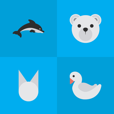 Vector Illustration Set Of Simple Zoo Icons. Elements Swan, Cat , Panda Synonyms Goose, Cat And Swan.