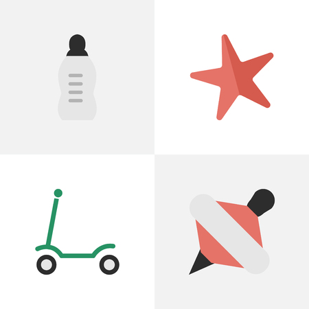 Vector Illustration Set Of Simple Baby Icons. Elements Yule, Toy, Kick And Other Synonyms Scooter, Milk And Moped.