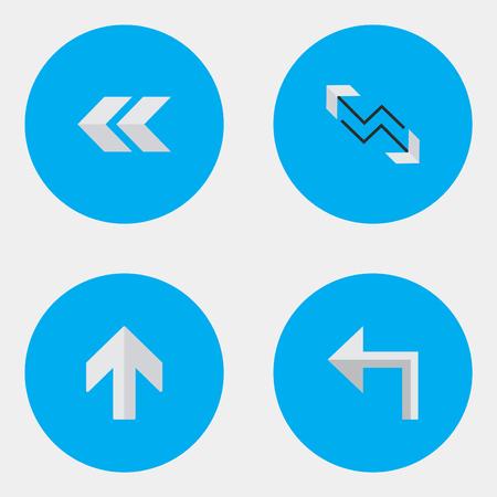 벡터 일러스트 레이 션 간단한 화살표 아이콘의 집합입니다. 요소 화살표, 오리엔테이션, 위쪽 및 기타 동의어 뒤로, 뒤로 및 붐. 스톡 콘텐츠 - 84947576