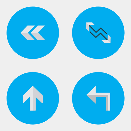Vector Illustration Set Of Simple Arrows Icons. Elements Arrow, Orientation, Upwards And Other Synonyms Backward, Back And Boom.