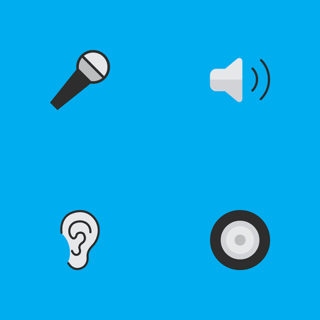 Vector Illustration Set Of Simple Sound Icons. Elements Mike, Listen, Loudspeaker And Other Synonyms Control, Speaker And Loudspeakers.