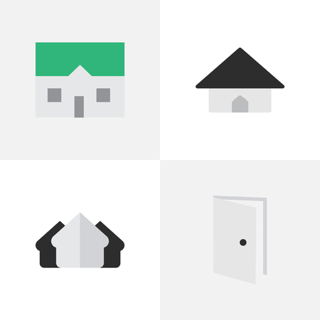 Vector Illustration Set Of Simple Property Icons. Elements House, Base, Property And Other Synonyms Property, Open And Door. Ilustracja