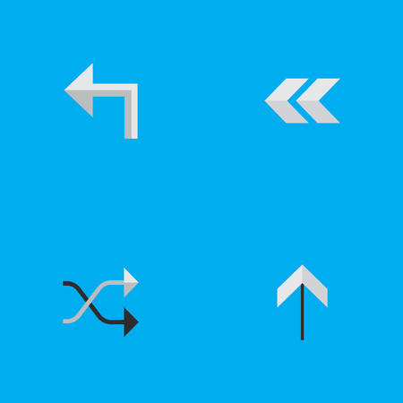 Vector Illustration Set Of Simple Pointer Icons. Elements Up, Orientation, Chaotically And Other Synonyms Upward, Up And Rearward.