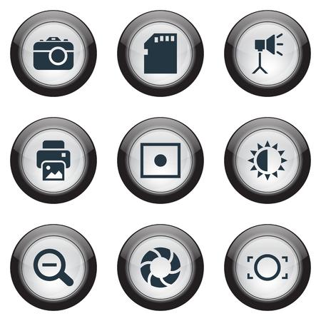 シンプルな写真アイコンのベクター イラスト セット。要素インク ジェット、発光の起源、メモリー カード、その他類義語登録、削除および光学。