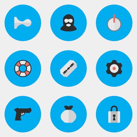 Vector Illustration Set Of Simple Criminal Icons. Elements Lifesaver, Blade, Cogwheel And Other Synonyms Shot, Gun And Gear. Ilustrace