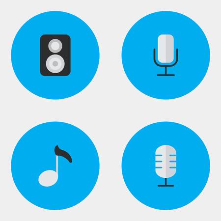 Vector illustratie Set van eenvoudige pictogrammen. Elementen Record, spreker, microfoon en andere synoniemen Microfoon, merk en luidspreker. Stock Illustratie